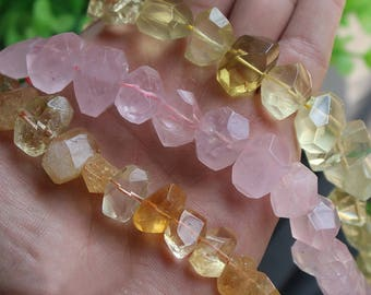 Healing Crystal and Stones, Chakra Raw Gemstone Transparent Natural Rose Quartz/ Citrine/ Lemon Quartz Beads (HX231)