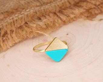 Geometric Ring, Diamond Shaped Ring, Gemstone Ring, Turquoise Ring, Gold Ring, Dainty Gemstone, Minimalist Ring BN708G3GR-R