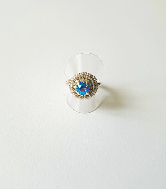 Small crystal shimmer ring