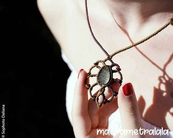 Gold Shine Obsidian & Garnets Macrame Necklace. Wife Brown Necklace. Healing Obsidian. Boho Bridal Astrology Necklace by Macrame Tralala