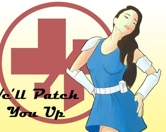 """We'll Patch You Up - Pinup Poster - 11""""x17"""" Prints"""