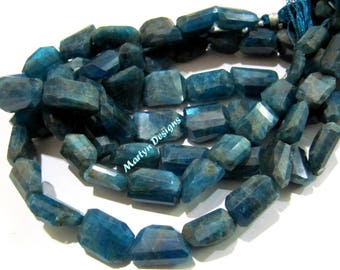 Beautiful Neon Apatite Nugget Shape Beads 10x15 to 12x17mm , Natural Neon Apatite Leser Cut Beads , Strand 10 inches Long , Tumbled Beads.