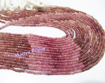 AAA Quality Natural Pink Tourmaline Beads , Rondelle Micro Faceted Beads , 2.5-3 mm Tourmaline Beads , Sold per Strand of 13 Inches Long.