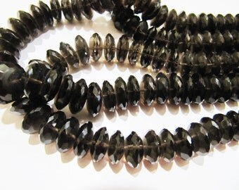 AAA Quality Natural Smoky Quartz German Cut, Rondelle Faceted Beads , 9 to 13mm Graduated Disc Shape Beads , Strand 8 Inches Long
