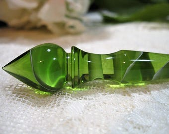 Turned Acrylic Hair Stick - Olive Water - 7""