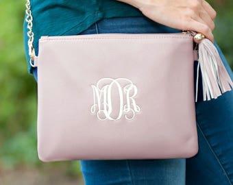 Mongram Purse, Christmas Gift, Tassle Purse, Blush purse, Monogram gifts, Monogram Crossbody, Teen gift, Christmas monogram, gift for mom