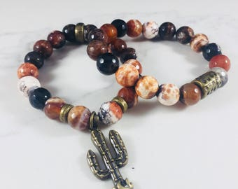 """SALE! Set of 2 """"Monica"""" agate beaded bracelets with cactus charm // Fast and free shipping"""