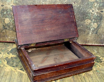 Wooden Lap Desk, Vintage Document Box, Vintage Wooden Box, Rustic Decor,  Wooden