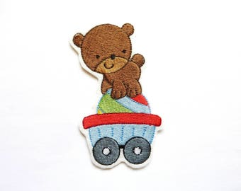 Bear on his cart badge patch embroidered patch