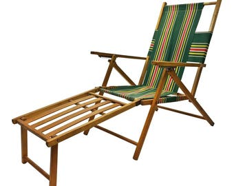 Vintage Folding CHAISE LOUNGE wood lawn chair pool mid century furniture wooden modern outdoor seating green adirondack steamer steamship