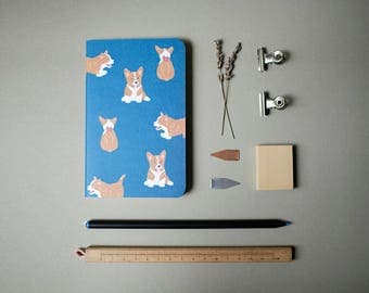 Navy Corgi Notebook
