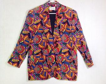 90'S Wild,Funky,Bright SILK GEOMETRIC Blazer,coat