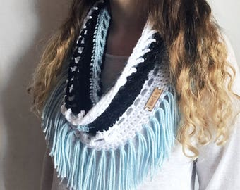 Fringe Scarf Crochet Lace Scarf, Infinity Scarf Blue, Black and White Scarf, Summer Shawl, Multi Colored Scarf