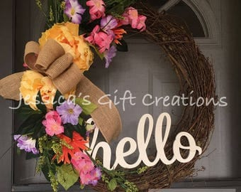 Made to Order Hello Grapevine Wreath/Front Door Wreath/Spring/Summer/Year Round/Monogram Wreath/Burlap Decor/Peonies Wreath/Farmhouse Wreath