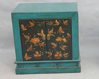 Bedside Cabinet Chinese Furniture Chinese Cabinet Handpainted Butterflies Turquoise Lacquered Oriental Asian Chinese