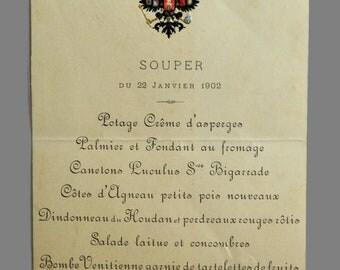 An Imperial Russian Menu, reign of Nicholas II, dated January 22, 1902