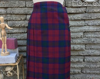 Vintage 1980's * 1990's Plaid Wool Skirt *  Maroon Kilt * Size XS * Small