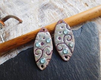 "Charms in enameled copper, ""sgraffito"", grey, blue ""bubbles"", handmade."