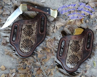 Buffalo and Rattle Snake Knife Sheath.... Buck 110 and other large folding knives