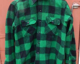 Vintage 1950s 1960s Big Yank Tartan Wool Shirt