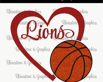 Lions Basketball Heart Design Pattern Graphic Design Instant Download EPS SVG DXF  Cutting Files Cameo