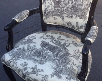 Accent Chair, Country French Chair, French Provincial, Occasional Chair. Toile Chair, Repurposed Caption Chair, black & White