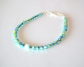 White jade and iridescent blue Swarovski Crystal bracelet