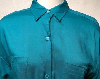 Vintage Modern Essentials Oversized Emerald Button Up