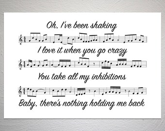 Shawn Mendes - There's Nothing Holdin' Me Back - Song Sheet Poster - Unique Art