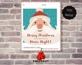 Holiday Redbox® Gift Tags Printable - Merry Christmas to all and to all Movie Night Redbox® code card-Santa Redbox 4 on pg-Instant Download