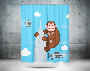 Retro Shower Curtain | Nerd Shower Curtain | Geek Shower Curtain | Retro  Bathroom Decor |