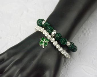 St Patrick's Day Rhinestone Bracelet and Matching Shamrock Charm Available with Matching Earrings