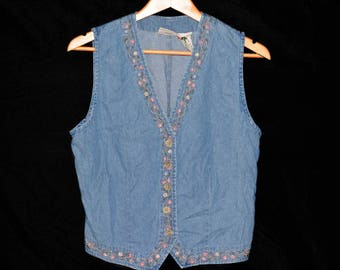 Jean Vest With Flowers