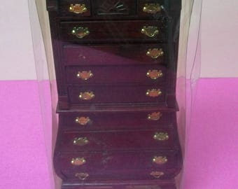dollhouse bedroom furniture mahogany wood bombay chest used in package by small town treasures br0042m made