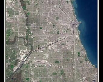 Chicago Illinois Satellite Poster Map