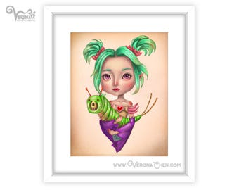 Caterpillar Baby (1/50) -  8 x 10 art print - Pop surrealism illustration insect fairy green hair