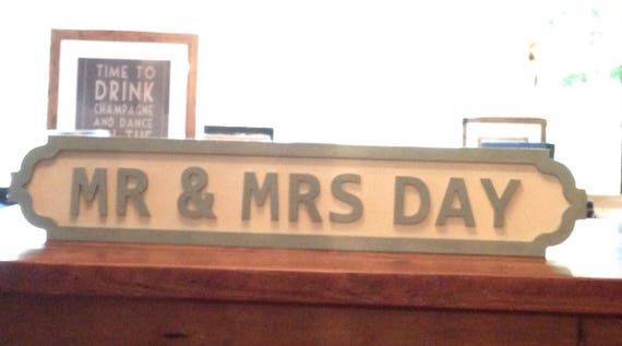 Mr Mrs Personalised Freestanding Wedding Street Sign Painted