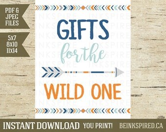 Gifts for the Wild One, Wild One Birthday, Tribal Birthday, Tribal Party Sign, Tribal Gifts Sign, 5x7, 8x10 & 11x14, INSTANT DOWNLOAD