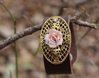 Leather Cuff Bracelet with Flower Brooch