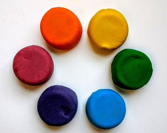 Set of 6 Primary Colors with Fruit Scents / Custom-Made Playdough