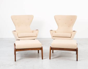 set of adrian pearsall wingback chairs ottomans