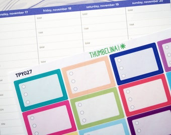 Checkbox Stickers for the Hourly Erin Condren Life Planner (TPY027)