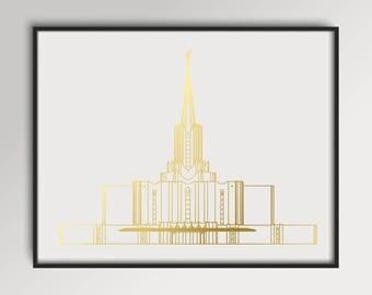 LDS Jordan River Utah Temple Gold Foil Print