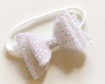 Double glitter white bow on nylon headband - baby toddler headbands, one size headband
