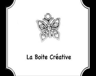 SILVER CHARM BUTTERFLY INSECT METAL BEAD