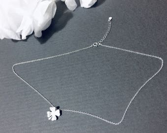 925 Sterling Silver NECKLACE Four Leaf Leaves Clover Style Charm Chain Pendant Nature Free Gift Wrapping Good Luck Tiny