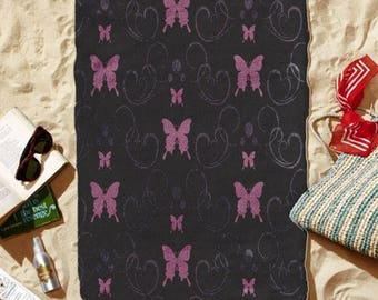 "Beach Towel ""Pink Butterflies"" 30"" x 60"""