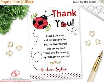50% OFF SALE Ladybug thank you card, Lady bug note card, Ladybug Birthday Party, Watercolor, Red & black Polka dot, DIY