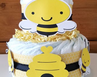 Babee Diaper Cake Shower Bumble Bee Baby Mommy To