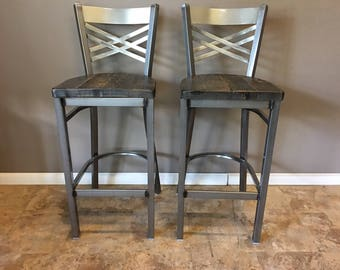 Reclaimed Bar Stool| Set of 2 | In Gun Metal Gray Metal Finish | X Back Metal | Restaurant Grade -30 Inch High Barstool
